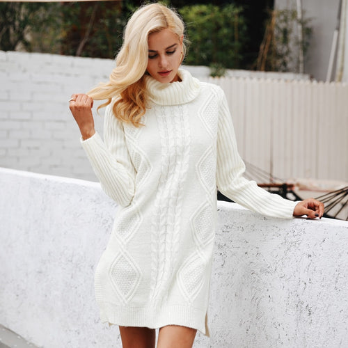 Turtleneck Autumn/Winter Long Sleeve Sweater Dress - The Fashion Bliss By VL Enterprises