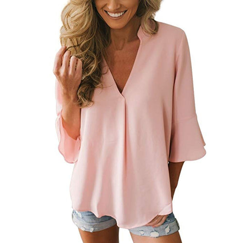 Casual Loose Solid V Neck Chiffon Blouse - The Fashion Bliss By VL Enterprises