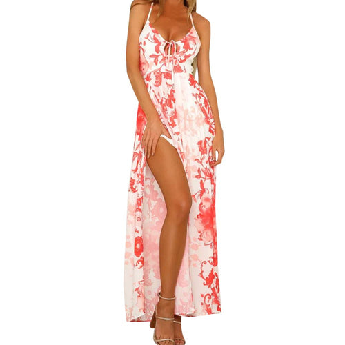 Backless Printing Sleeveless Long Dress - The Fashion Bliss By VL Enterprises