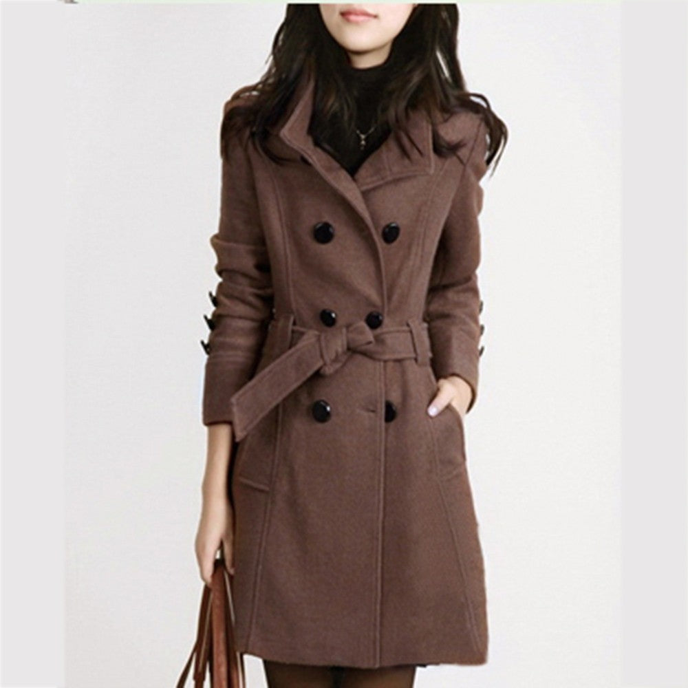 Warm Long Sleeve Jacket Coat With Belt - The Fashion Bliss By VL Enterprises