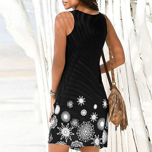 Sleeveless Printed Casual Dress - The Fashion Bliss By VL Enterprises