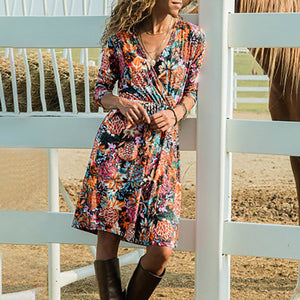 Casual Country Long Sleeve Midi Dress - The Fashion Bliss By VL Enterprises