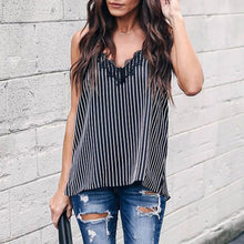 Load image into Gallery viewer, Lace Stripe V-Neck Thank Top - The Fashion Bliss By VL Enterprises