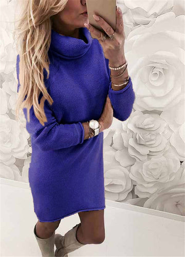 Long Casual Long Sleeve Sweater Dress - The Fashion Bliss By VL Enterprises