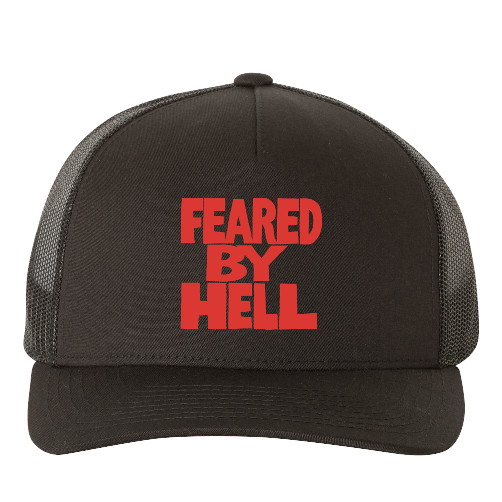 Feared By Hell Stacked - Black Trucker Hat