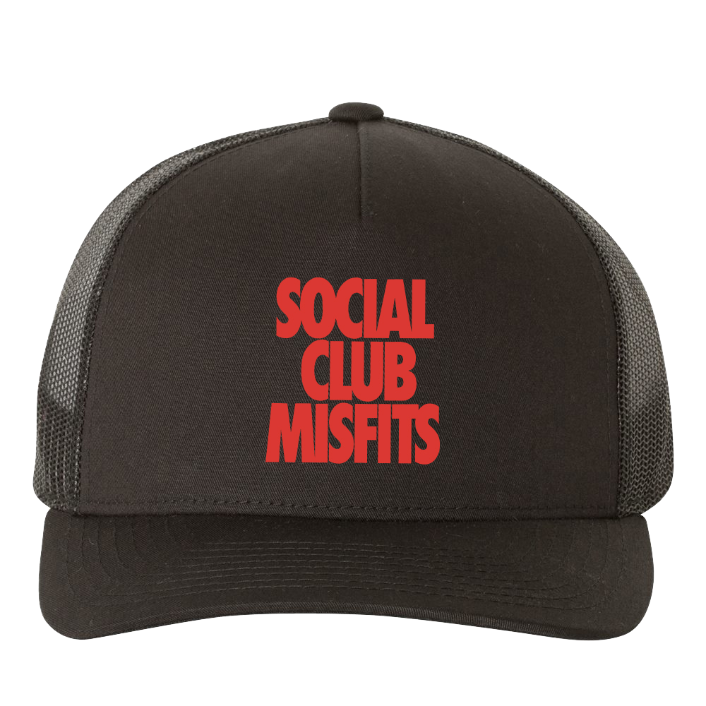 Social Club Misfits Stacked - Black Trucker Hat