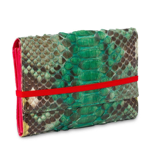 Cartera pitón, verde esmeralda, 607 medium. - piamontemadrid