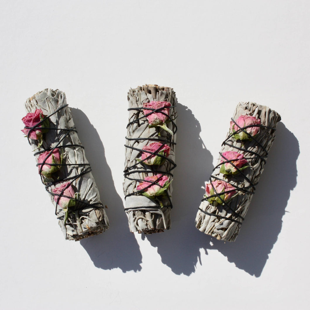 White Sage & Rose Buds Smudge Stick