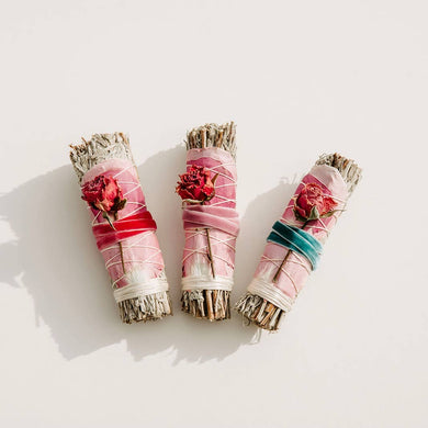 Blue Sage & Rose Smudge Stick