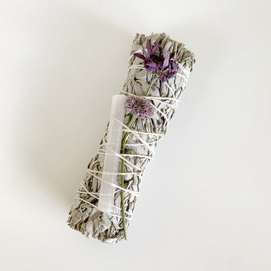 Large 7in White Sage Smudging Sticks with Dried Flowers & Crystal