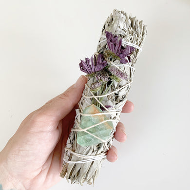 Fluorite White Sage Smudge Stick - 7in