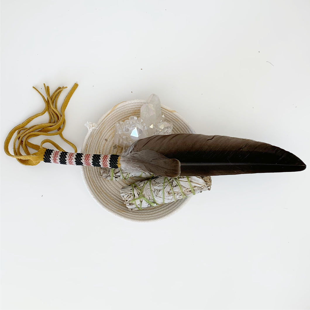 Smudging Feather - Pink, Grey & white