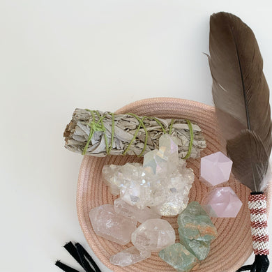 Smudging Feather - Pink & White