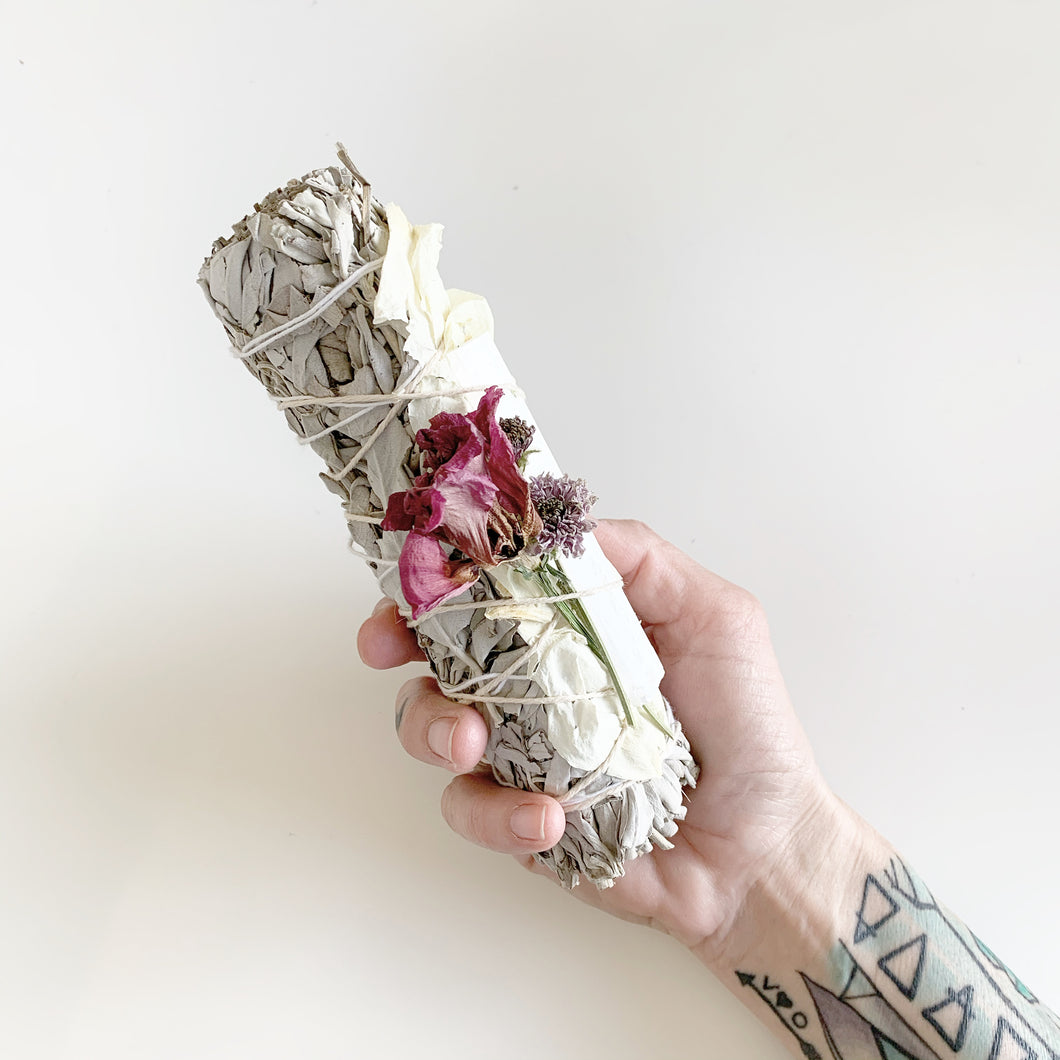 Smudging Stick 7in Dried Flowers & Crystal