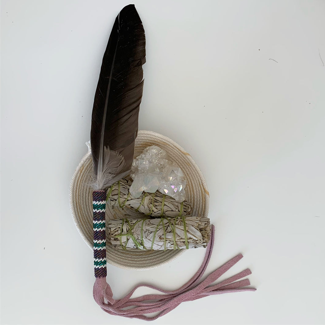 Smudging Feather - Teal & Purple