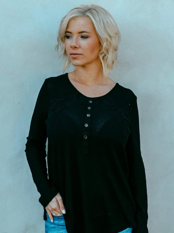 Black Lace Detail Henley Top