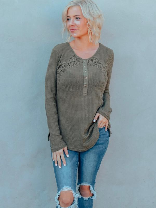 Olive Lace Detail Henley Top