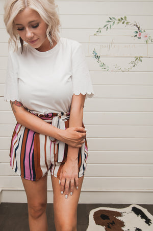 Autumn Striped High Waist Tie