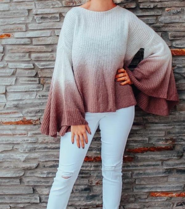 Ombre Bell Sleeve Sweater