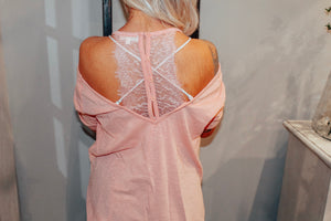 Pink Lace Detail Top