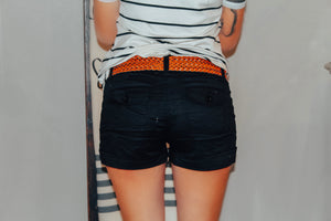 Cotton Twill Shorts w/ Braided Belt