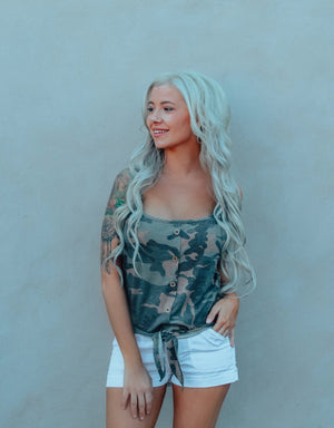 Camo Tank With Front Tie