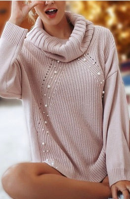 Pearl Detail Blush Swoop Neck Sweater