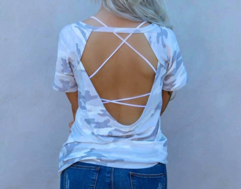 White Camo Open Back Top