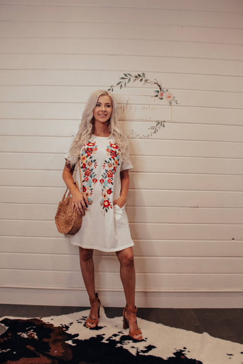 Ivory Embroidered Pocket Tee  Dress