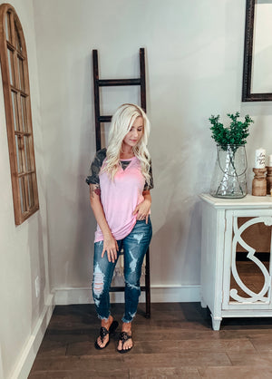 Pink with Camo Detail Top