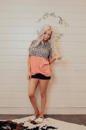 Neon Pink With Cheetah Print Top