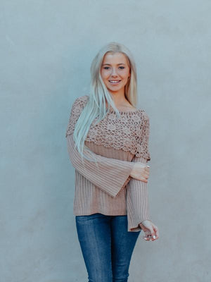 Mocha Lace Detail Knitted Sweater