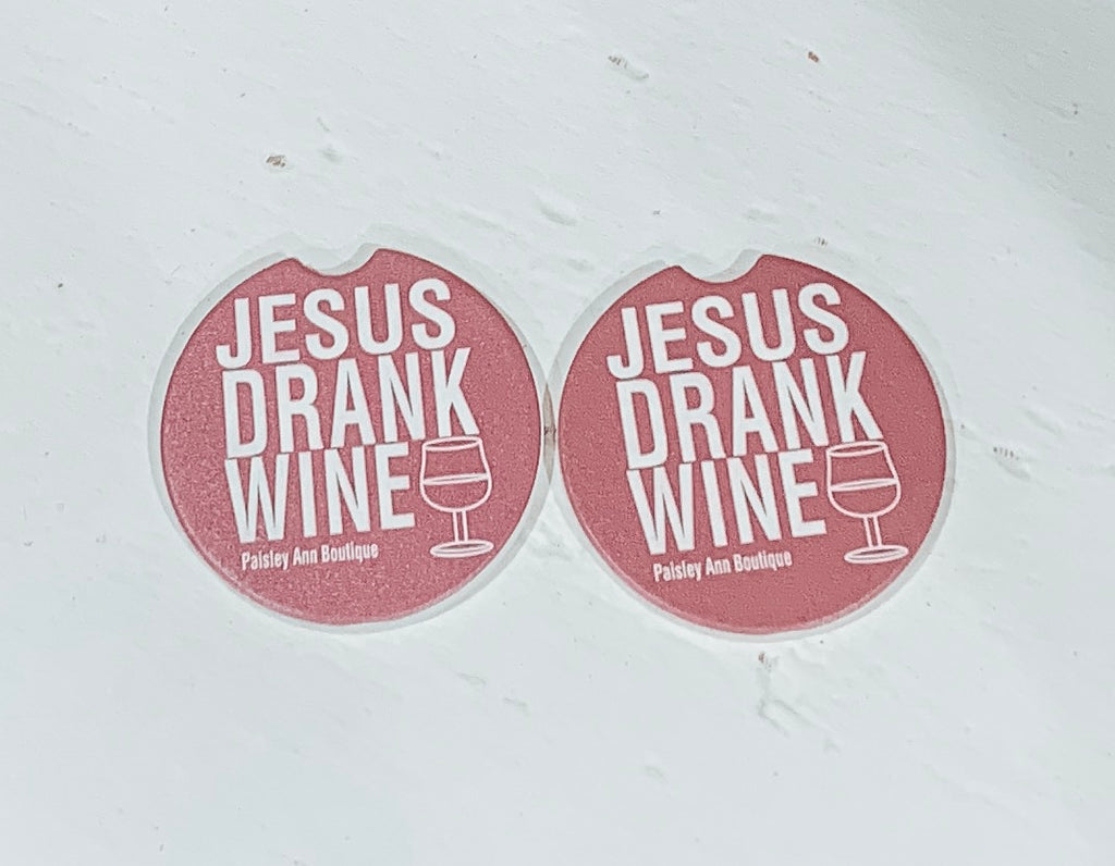 Jesus Drank Wine Car Coasters