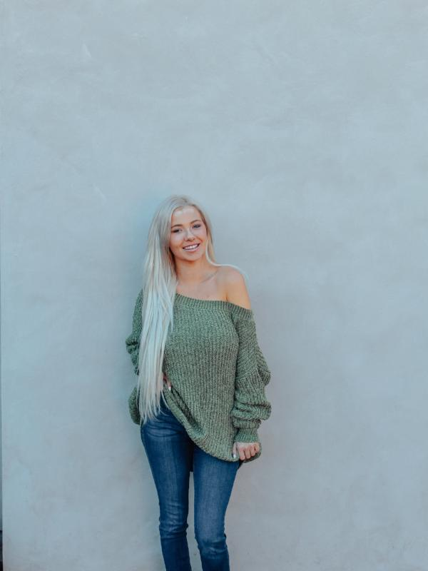Olive Chenille Knit Sweater