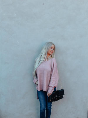 Pink Knit Hi-Low Sweater