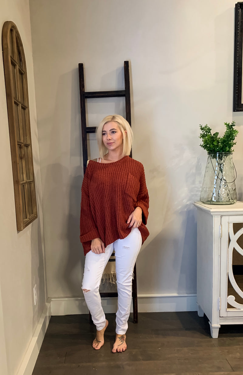 Rust Chenille Knit Sweater