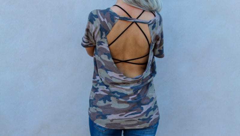 Camo Backless Top