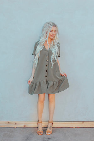 Olive Ruffled Dress
