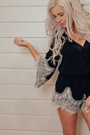 Black With Lace Detail Romper