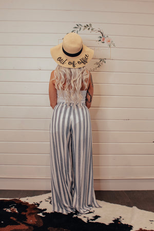Striped Beach Pants With Leg Slits