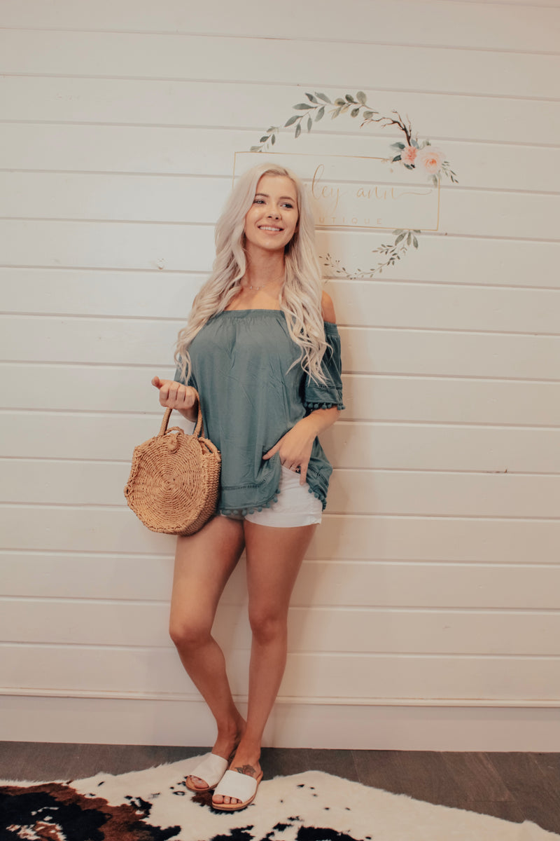 Dusty Green Off The Shoulder Top With Tassel Detail