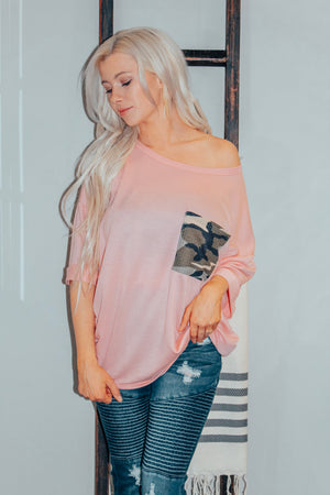 Pink Terry Boxy Fit Slouchy W/Camo Detail Top