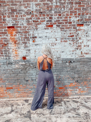 Charcoal Lace Detail Jumpsuit