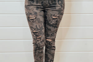 Distressed Camo Skinny Jeans
