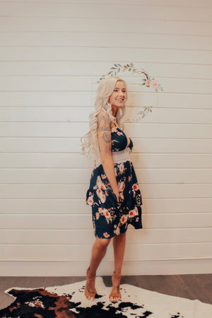 Navy With Floral & Lace Detail Dress