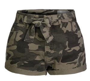 Highwaist Camo Front Tie Denim Shorts