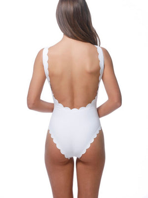 White Scalloped One Piece