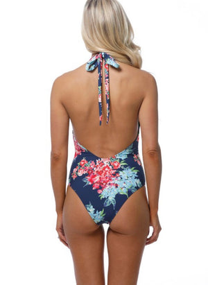 Open Back Floral Halter One Piece