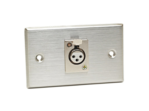 CAD 40-347 - STAINLESS STEEL SINGLE 3-PIN XLR-F CONNECTOR ON DUPLEX WALL PLATE