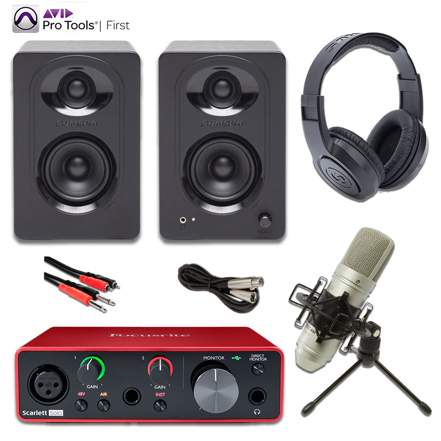 Focusrite Solo Gen 3 Tascam TM-80 M30 Monitors Studio Bundle with Pro Tools First